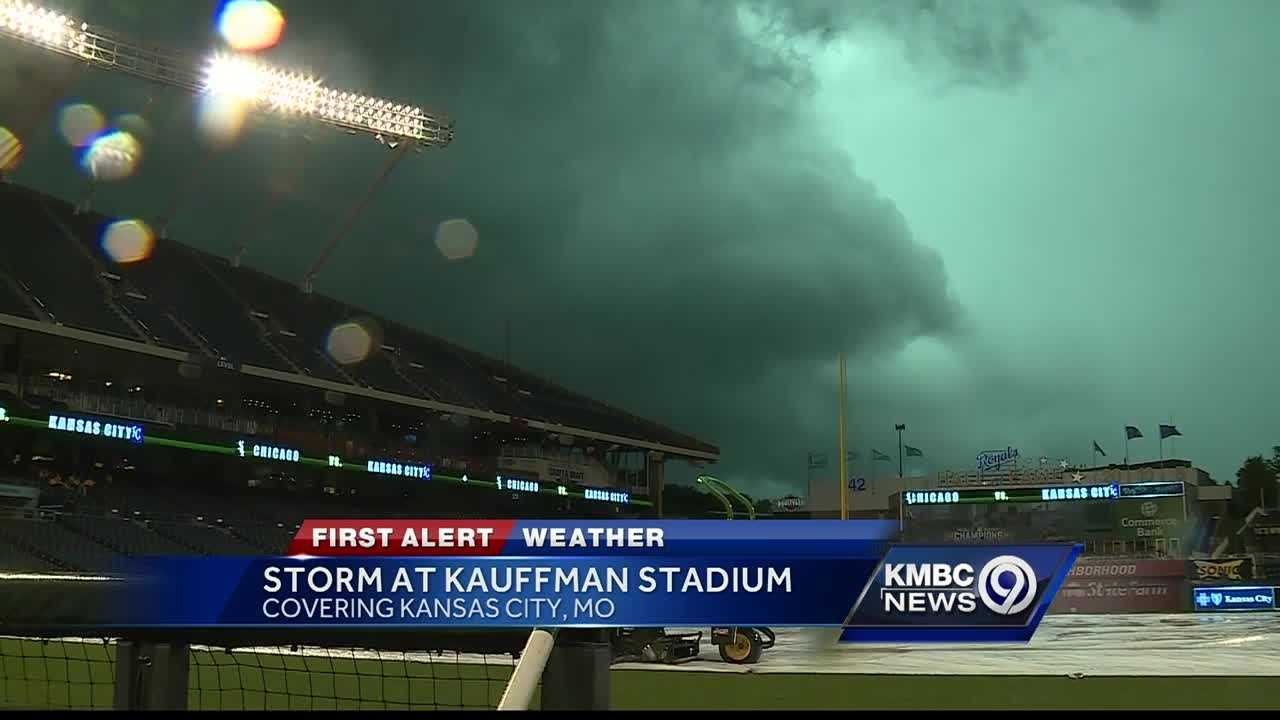 A strong storm moved over Kauffman Stadium shortly before the Royals-White Sox were scheduled to play Thursday. The game was postponed for later in the season.
