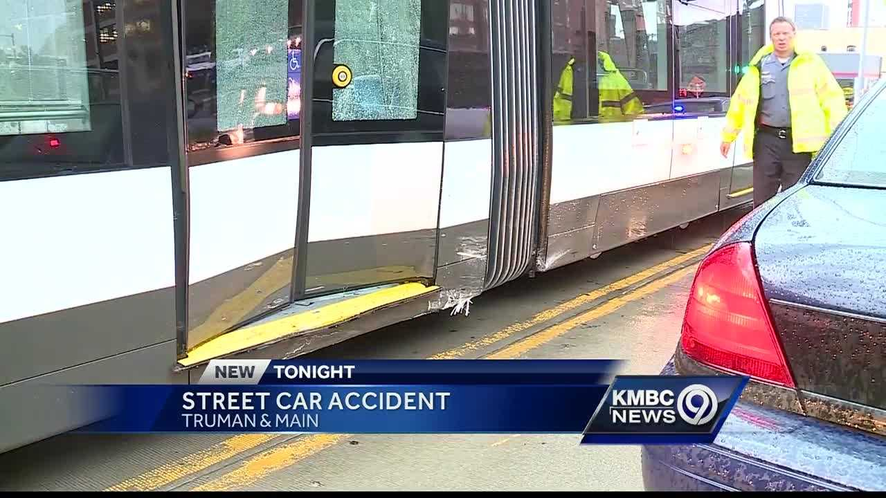 A car crashed into one of Kansas City's new streetcars Thursday evening.