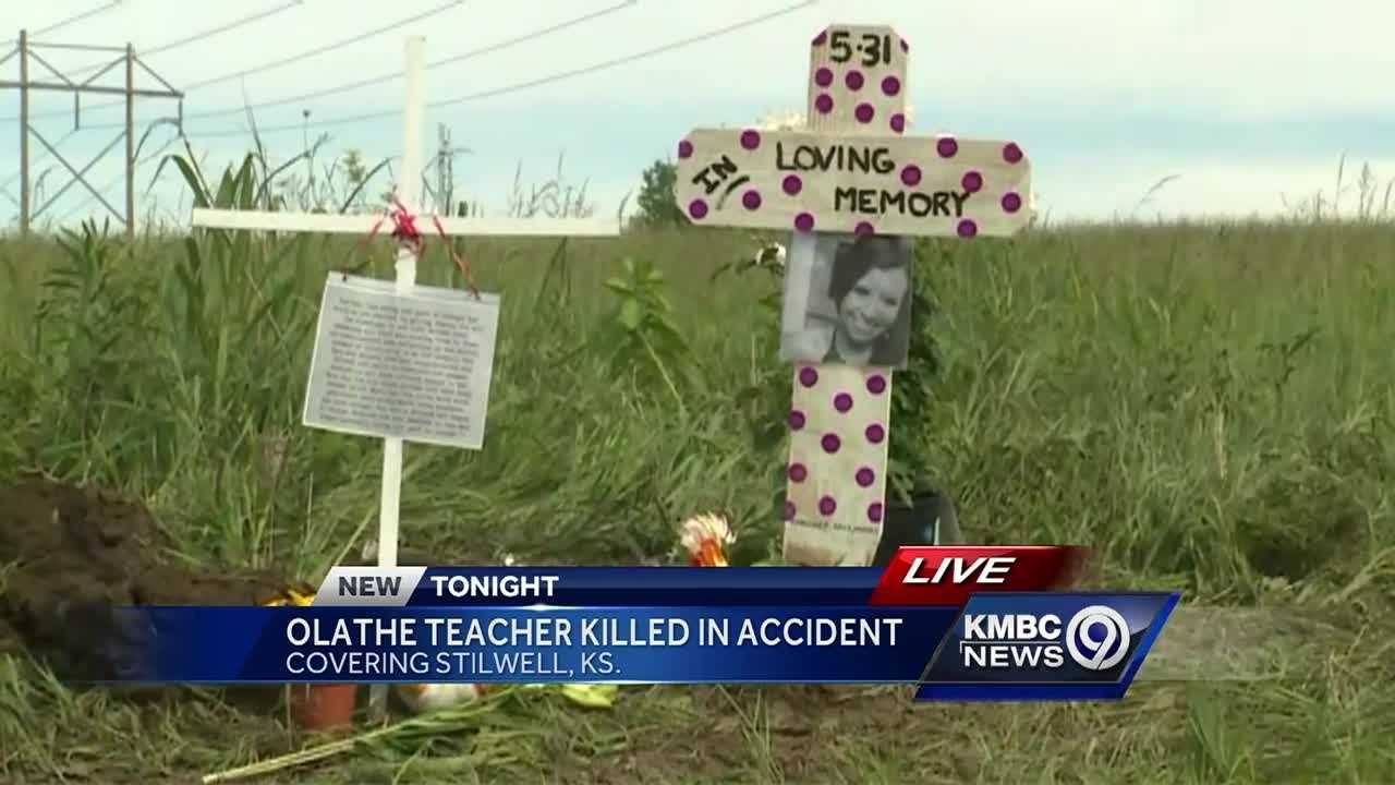 Olathe school employee remembered at scene of Stilwell crash