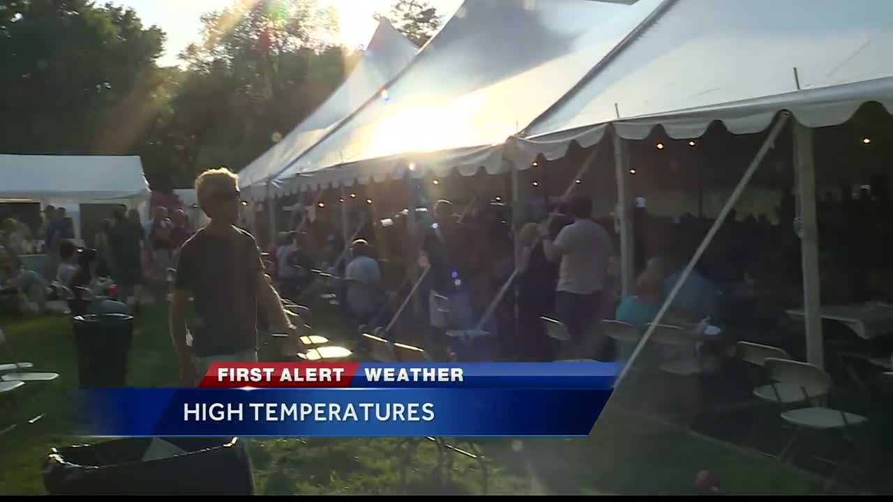 Despite warm temperatures, many people enjoy the annual Greek Festival organized by the St. Dionysios Greek Orthodox Christian Church in Overland Park, Kansas.