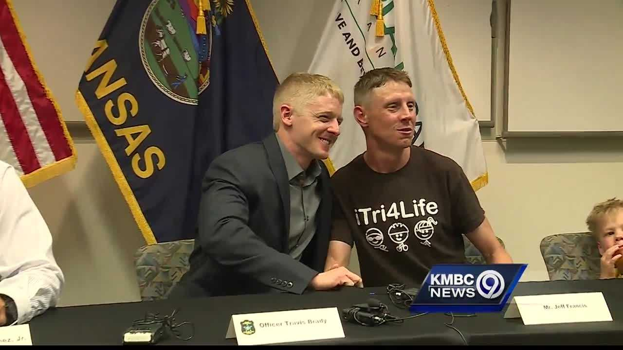The son of a man whose life was saved at an Overland Park health club Friday got a chance to say a personal thank-you Monday to the police officer who did it.