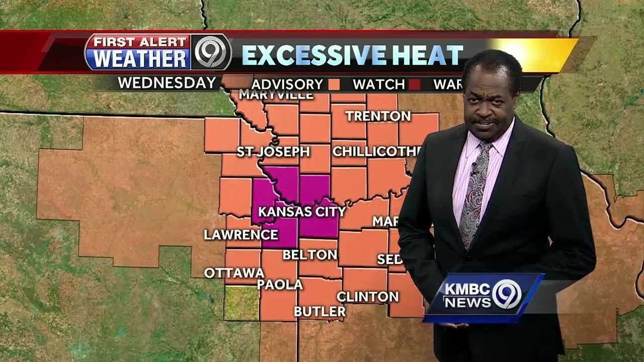 An excessive heat warning has been issued for the Kansas City metropolitan area on Wednesday as the temperature may approach 100 degrees and the heat index could hit 110.