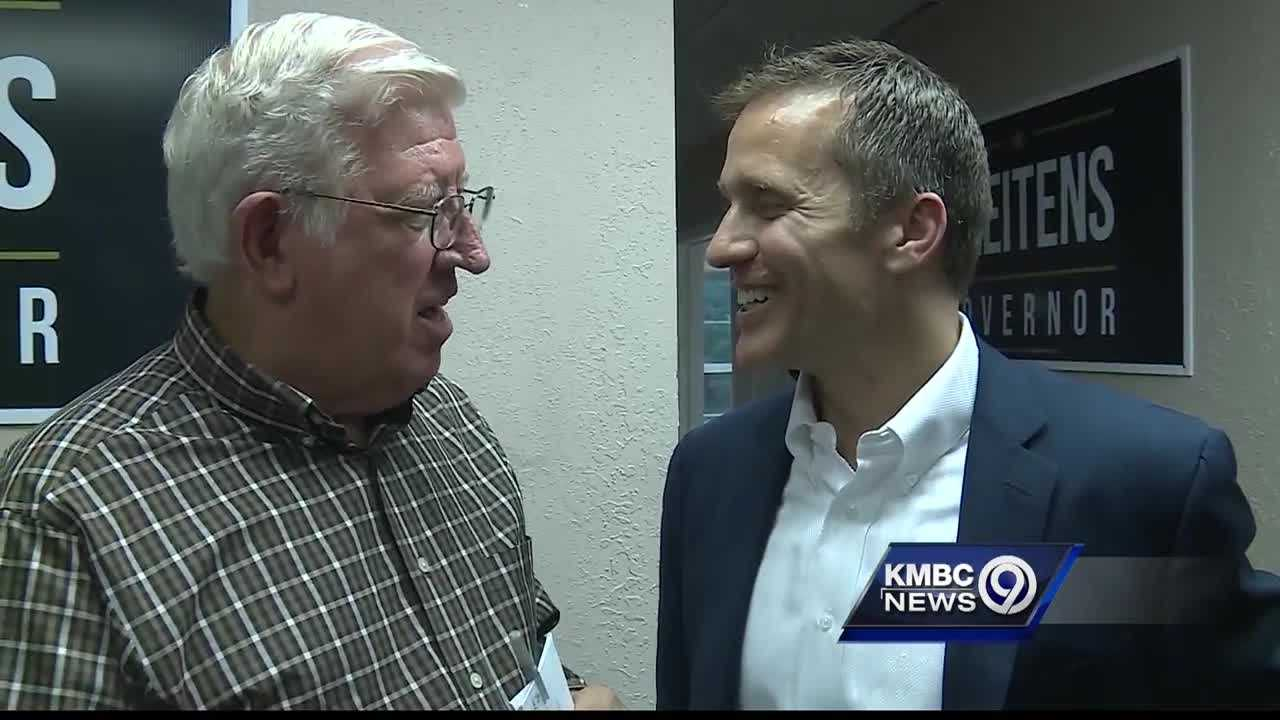 Republican Missouri gubernatorial candidate Eric Greitens says he does not have a relationship with the treasurer of a political action committee running ads against his rival, but recent photos have raised doubts.