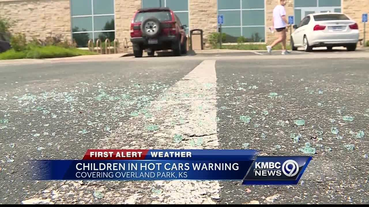 A mother who locked her baby in her car in south Overland Park Wednesday smashed a window to get the child out.