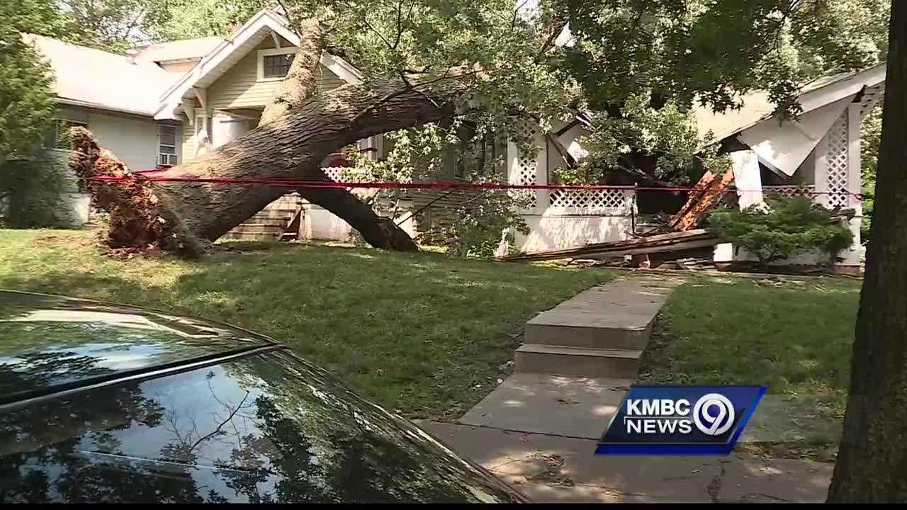 A Kansas City woman said she's thanking God she's alive after a tree came crashing down on her house Tuesday afternoon.