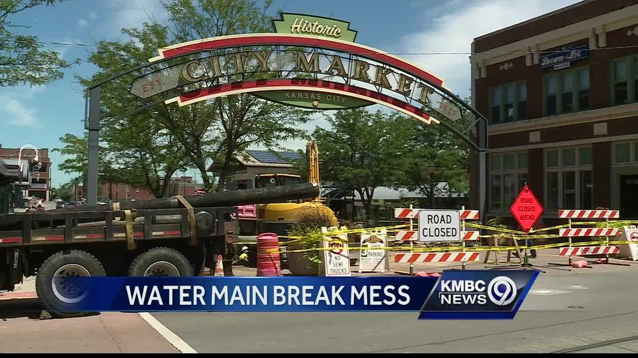 A 10-inch water main break Wednesday morning affected part of the City Market.