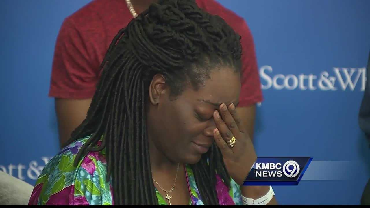 A woman who was shot in the leg by the sniper who killed five Dallas police officers fought back tears as she told the story of officers who saved her life.