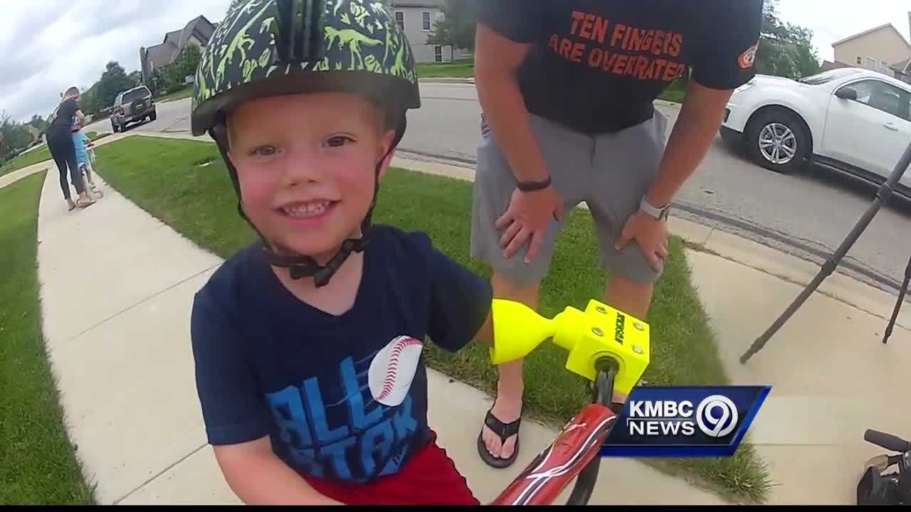 A Shawnee man who spent weeks looking for a special device to help teach his son how to ride a bike decided to have one custom-made.