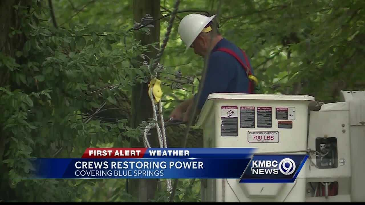 Customers in Blue Springs are still waiting to have power restored after morning storms swept through the region