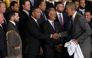 President Barack Obama shakes hands with Kansas City Royals Salvador Perez during a ceremony in the East Room of the White House in Washington, Thursday, July 21, 2016, where the president honored the 2015 World Series Champion Kansas City Royals baseball team. (AP Photo/Susan Walsh)