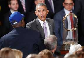 President Barack Obama shakes hands with Mayor of Kansas City, Mo., Sly James, left, during a ceremony for the Kansas City Royals in the East Room of the White House in Washington, Thursday, July 21, 2016, where the president honored the 2015 World Series Champion baseball team. (AP Photo/Pablo Martinez Monsivais)
