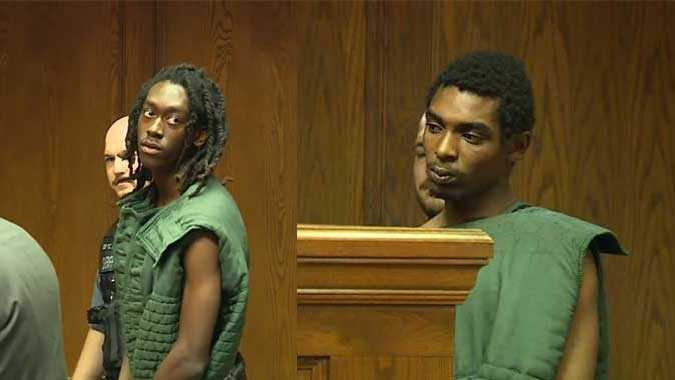 Jamaal Lewis, pictured left, and DaQon Sipple, pictured right, appeared Friday in Wyandotte County Court.
