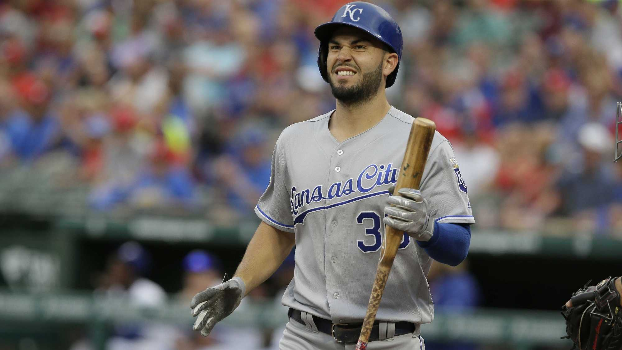 Kansas City Royals first baseman Eric Hosmer reacts to striking out during the first inning of a baseball game against the Texas Rangers in Arlington, Texas, Thursday, July 28, 2016. (AP Photo/LM Otero)