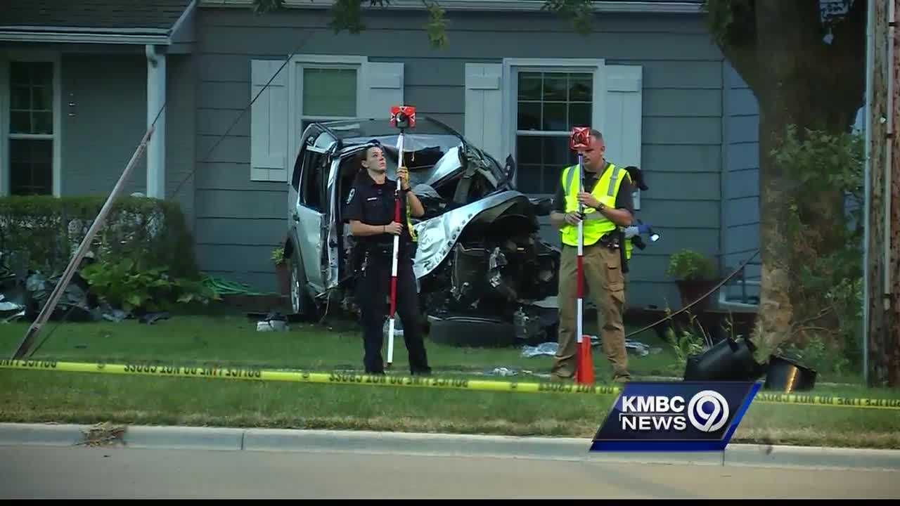 Thieves crashed a vehicle into a Leawood family's front yard as they were being pursued by police for allegedly stealing a vehicle.