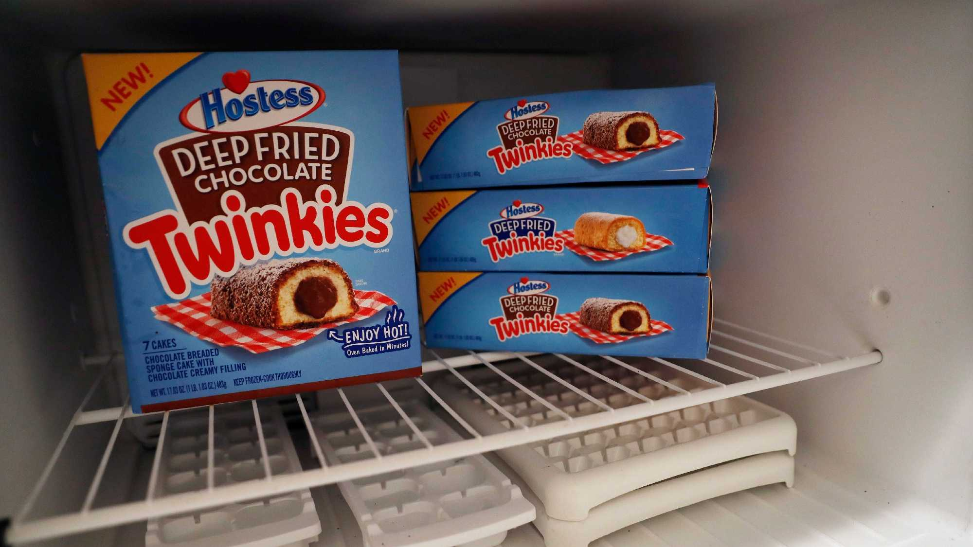 "The deep-fried Twinkie is jumping from the state fair to an oven near you. Hostess is launching packaged ""Deep Fried Twinkies"" that mark its first foray into frozen foods. (AP Photo/Mary Altaffer)"