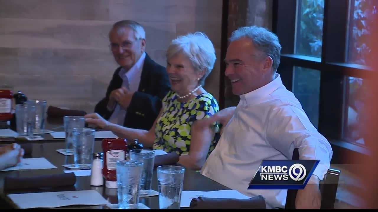Democratic vice-presidential candidate Sen. Tim Kaine returned to his hometown Wednesday night to enjoy a barbecue dinner with his family.