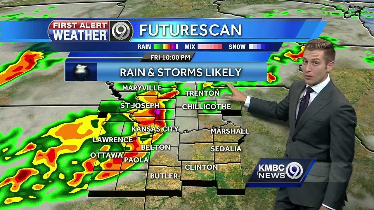 Damaging storms may be moving through the Kansas City region late Friday evening. When the system moves through, we can expect a week of cooler temperatures,