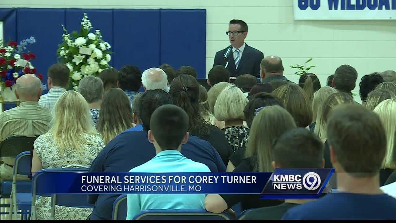 Mourners came to the Harrisonville High School gymnasium for the funeral of Corey Turner, the 14-year-old freshman who was struck by a vehicle and killed while walking home from school.