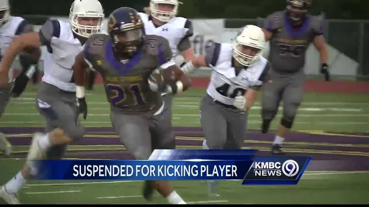 A Blue Springs High School running back has been suspended for two games for kicking an opposing player late in Friday night's game.