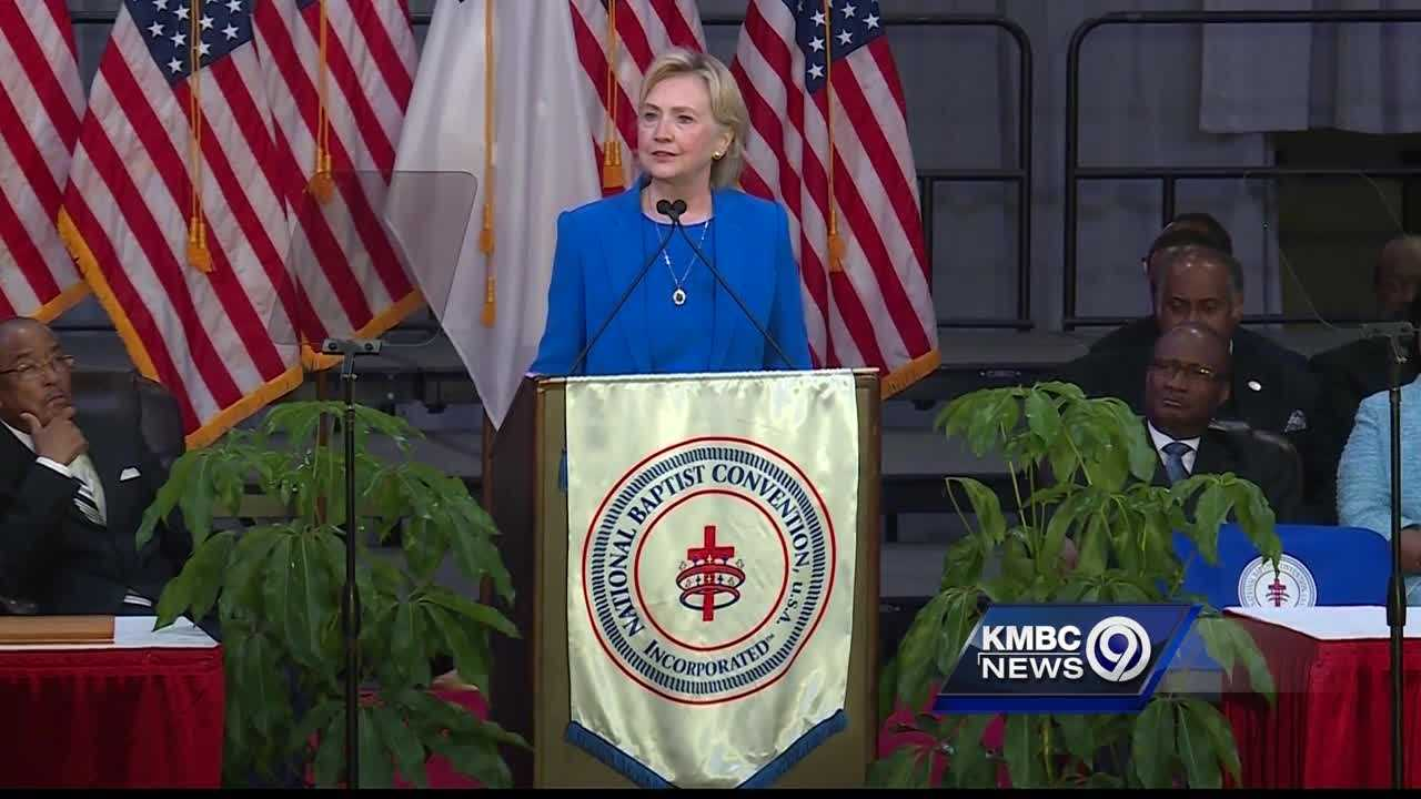Democratic presidential candidate Hillary Clinton sheds much of her normal campaign speech Thursday in a speech to the National Baptist Convention, saying the next president has to have humility.