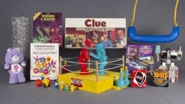 Bubble wrap, Care Bears, Clue, coloring books, Dungeons & Dragons, Fisher-Price Little People, Nerf, pinball, Rock 'Em Sock 'Em Robots, swing, Transformers, and Uno are up for induction into the National Toy Hall of Fame in Rochester, New York.