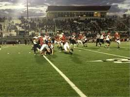 """Turnovers plagued the Lions, including a """"pick 6"""" in the second half. Shawnee Mission North won by a score of 58-28."""