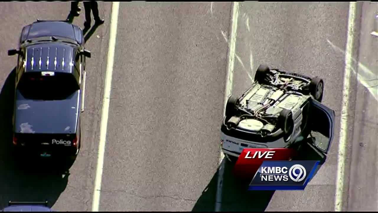 A chase that started in Independence Monday afternoon included a crash that involved a police cruiser and a North Kansas City district school bus.