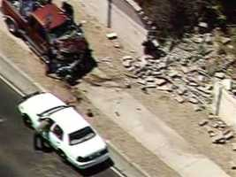 Sky 7 flew over a truck Tuesday that smacked into a wall at Ladera and Unser.