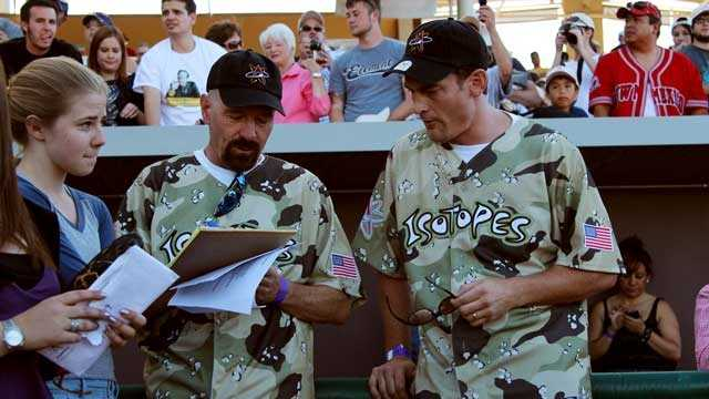 Bryan Cranston and Eric Green at the Wounded Warrior softball game.