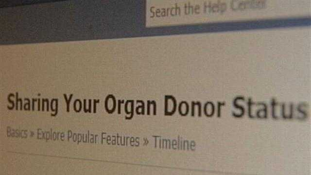 Using Facebook to become an organ donar