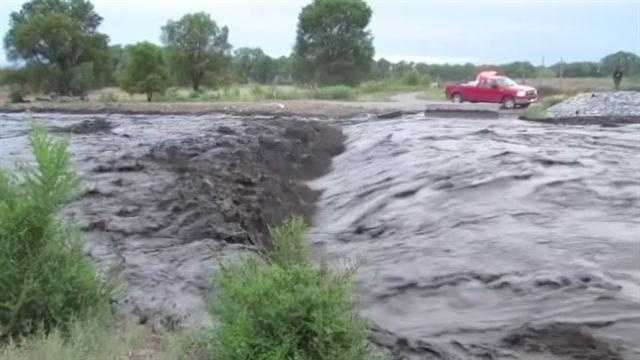 Several people living on Santa Clara Pueblo evacuated their homes Wednesday night as the slow, shallow stream became an aggressive, gushing river.