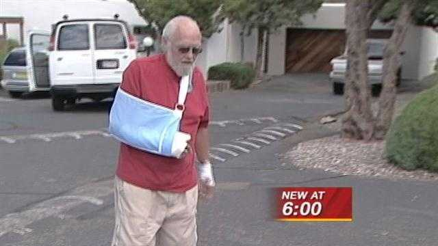 A 69-year-old is recovering from bites, bruises and shattered hand after a recent dog attack.