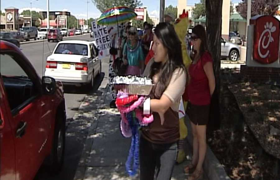 Protesters brought their own chicken sandwiches in hopes of deterring some customers.