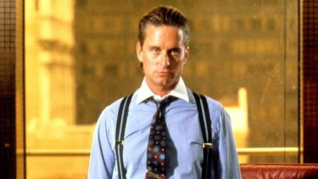 """1987: Michael Douglas as Gordon Gekko in """"Wall Street."""" The film earned Douglas his first and only Best Actor Oscar."""