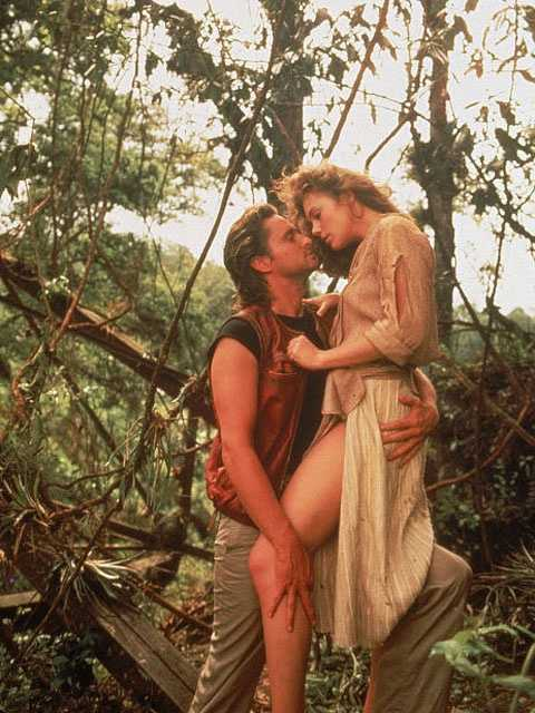 """1984: Michael Douglas and Kathleen Turner in the romantic adventure comedy """"Romancing the Stone."""""""