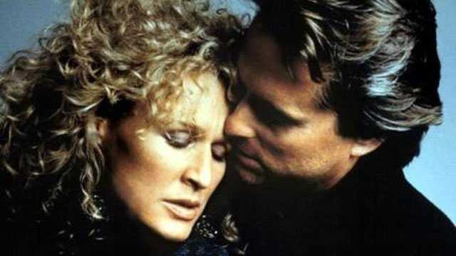 "1987: Glenn Close and Michael Douglas in the suspense thriller ""Fatal Attraction."""