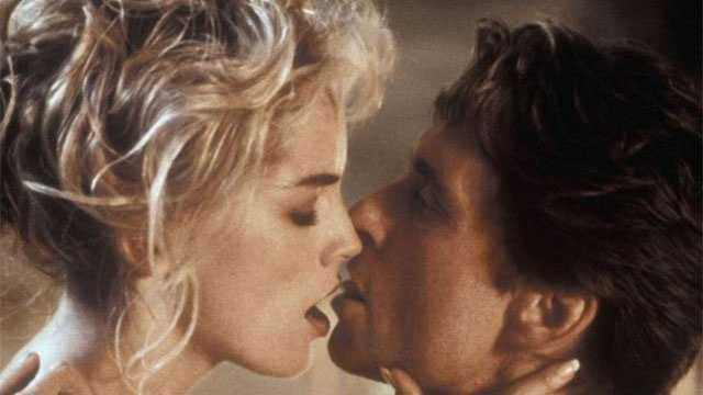 """1992: Sharon Stone and Michael Douglas in the sexually provocative thriller """"Basic Instinct."""""""