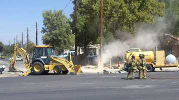PNM crews are at the scene of 4000 Montgomery Boulevard NE to fix a gas line.