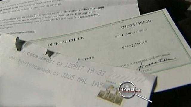 Fake lottery check targets veteran