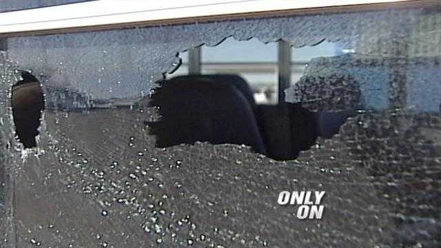 Someone threw a rock through a school bus window on Friday in Los Lunas, N.M.