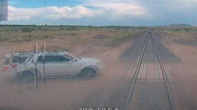 Heart-stopping video released by the Rail Runner may make you think twice about getting anywhere near the tracks.
