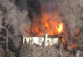 Sky 7 flew over a home engulfed in flames on Thursday afternoon. The home was near the intersection of Cornell and Stanford.