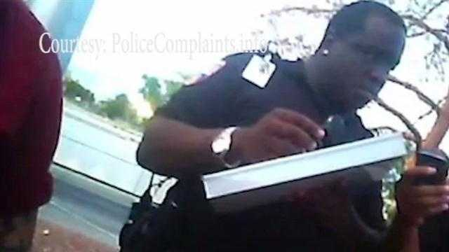 A frightening confrontation is caught on camera, as a city of Albuquerque security guard goes after a man for using a video camera. At one point, the A.B.Q. Ride security guard appears to be choking the man who is struggling to speak.