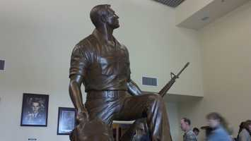 A statue depicting Staff Sgt. William Pitsenbarger was dedicated on Thursday at Kirtland Air Force Base.