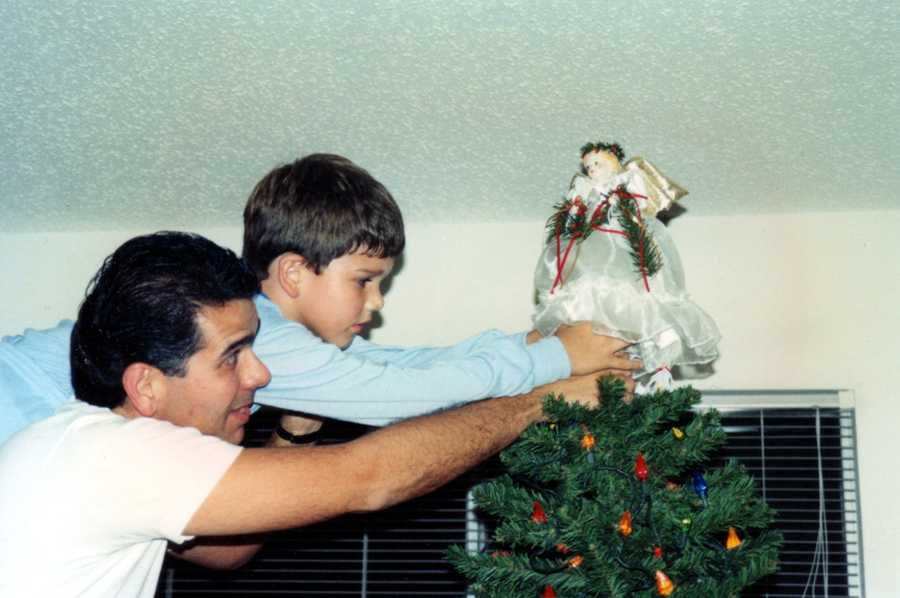 """""""The tradition of placing the angel at the top of the tree started with our oldest child Steven. We still have this angel on our current tree,"""" Joe said."""