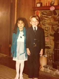 Dressing up for Christmas church services. This is Royale and her childhood best bud, Justin, before a Christmas service.
