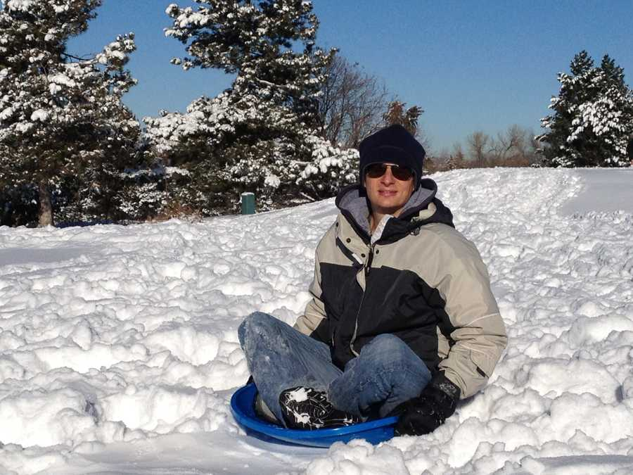 """""""I've always been a big kid at heart. And...when it comes to sledding, there's no exception! The perfect way to cap off a white Christmas is by speeding down a snow-covered hillside and getting a face full of fluffy snow,"""" Byron said."""