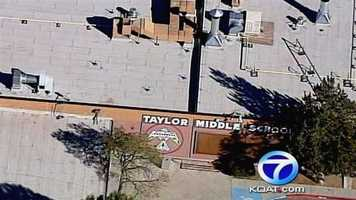 See photos from Taylor Middle School where a teen fell through a skylight.