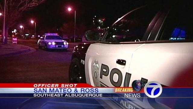 APD is investigating who shot an officer near San Mateo and Ross around midnight.