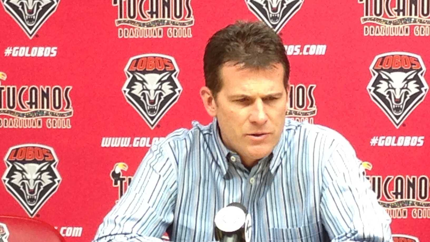 Steve Alford announced that he's leaving UNM at a news conference on Saturday.